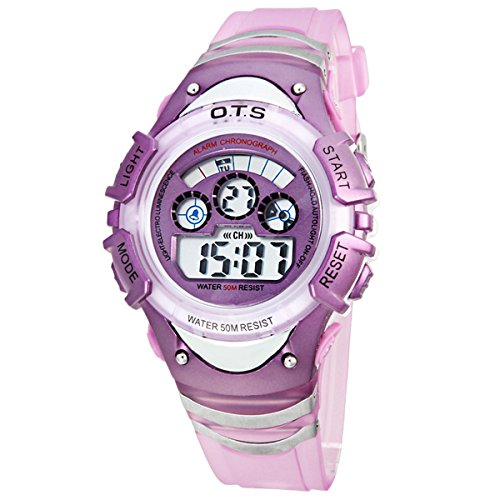 Kinder Armbanduhr Jungenuhr Maedchenuhr LED Uhr Multifunktionsuhr Digital Uhr Lila