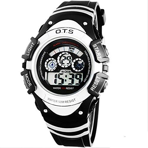 Kinder Armbanduhr Jungenuhr Maedchenuhr LED Uhr Multifunktionsuhr Digital Uhr Weiss