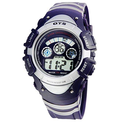 Kinder Armbanduhr Jungenuhr Maedchenuhr LED Uhr Multifunktionsuhr Digital Uhr Blau