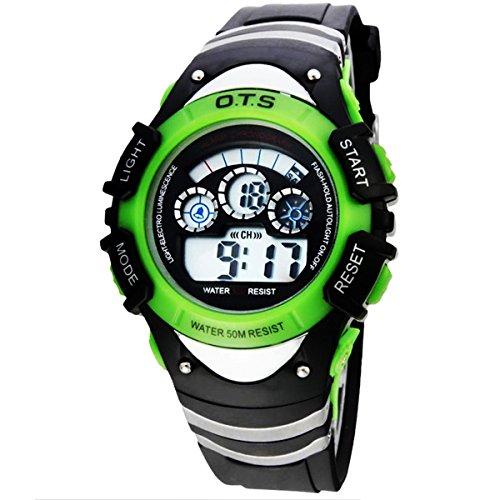 Kinder Armbanduhr Jungenuhr Maedchenuhr LED Uhr Multifunktionsuhr Digital Uhr Gruen