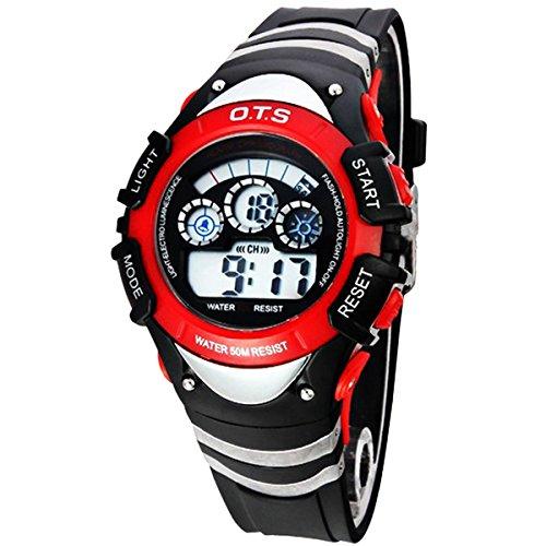 Kinder Armbanduhr Jungenuhr Maedchenuhr LED Uhr Multifunktionsuhr Digital Uhr Rot
