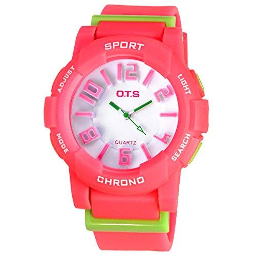 Jungen Armbanduhr Maedchen Armbanduhr Leuchtende Uhr Analog Quarz Uhr Casual Uhr Rosarot