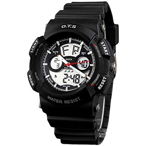 Leuchtende Uhr Multifunktionsuhr Analog Digital Uhr Schwarz