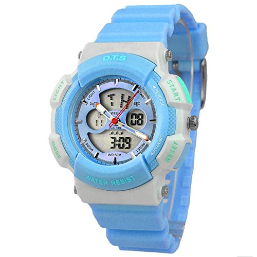 Kinder Armbanduhr Jungenuhr Maedchenuhr Leuchtende Uhr Multifunktionsuhr Analog Digital Uhr Blau