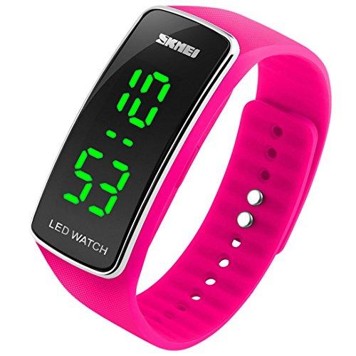 panegy Jungen und Maedchen wasserabweisend LED Digital Display Rose Rot Silikon gebogenen Zifferblatt Sport Armbanduhr