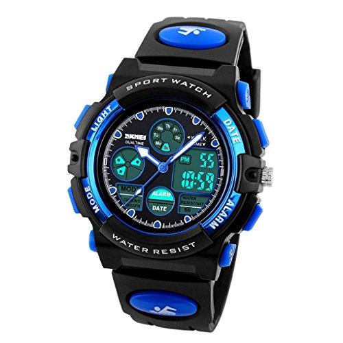 Panegy Jungen Armbanduhr Analog Digital Watch mit Kalender Zifferblatt 48 44 17mm Blau