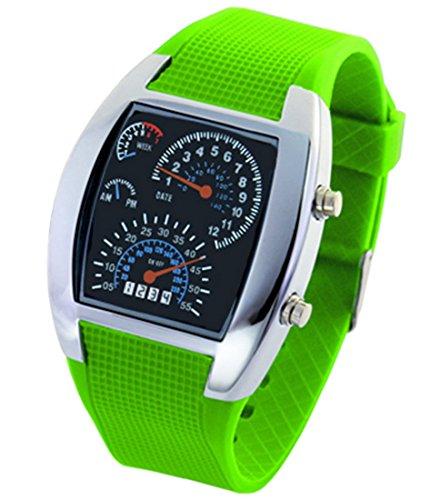 Panegy Studenten Armbanduhr Unisex LED Digitaluhr mit Legierung Uhrgehaeuse Fashion 5ATM Wasserdicht Uhr mit Cool Zifferblatt Fuer Maedchen Jungen Gruen