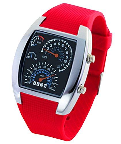 Panegy Studenten Armbanduhr Unisex LED Digitaluhr mit Legierung Uhrgehaeuse Fashion 5ATM Wasserdicht Uhr mit Cool Zifferblatt Fuer Maedchen Jungen Rot