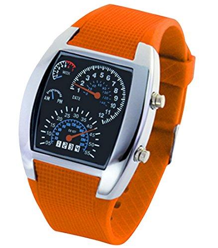 Panegy Studenten Armbanduhr Unisex LED Digitaluhr mit Legierung Uhrgehaeuse Fashion 5ATM Wasserdicht Uhr mit Cool Zifferblatt Fuer Maedchen Jungen Orange