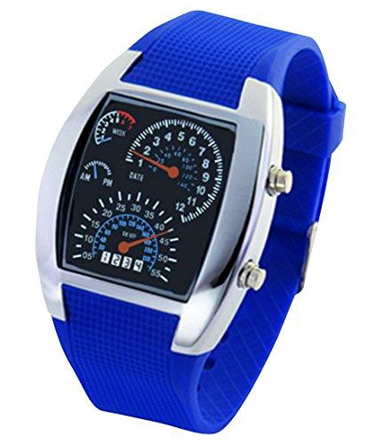 Panegy Studenten Armbanduhr Unisex LED Digitaluhr mit Legierung Uhrgehaeuse Fashion 5ATM Wasserdicht Uhr mit Cool Zifferblatt Fuer Maedchen Jungen Blau