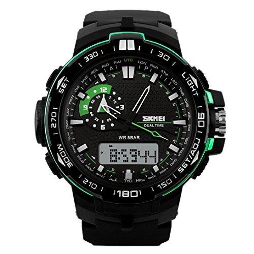 panegy Herren Dual Time Display Sport Outdoor Digital Armbanduhr Gruen