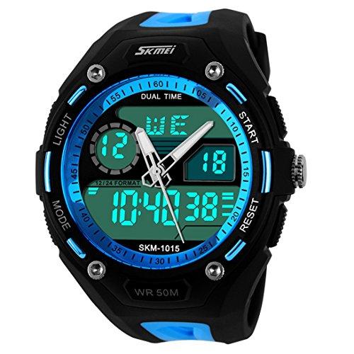 panegy Herren Dual Time Zonen Multifunktions Analog Digital Armbanduhr Blau
