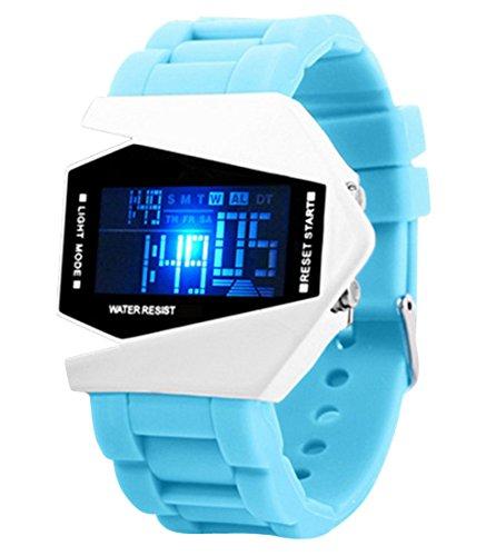 Panegy Studenten LED Sportuhr mit Silikagel Armband Multifunktion Legierung Uhrgehaeuse Digitaluhr Highlight Stoppuhr mit Kalender Wecker Chronograph Himmelblau