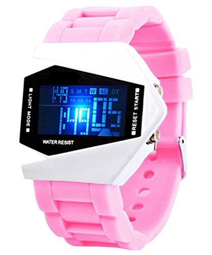 Panegy Studenten LED Sportuhr mit Silikagel Armband Multifunktion Legierung Uhrgehaeuse Digitaluhr Highlight Stoppuhr mit Kalender Wecker Chronograph Rosa