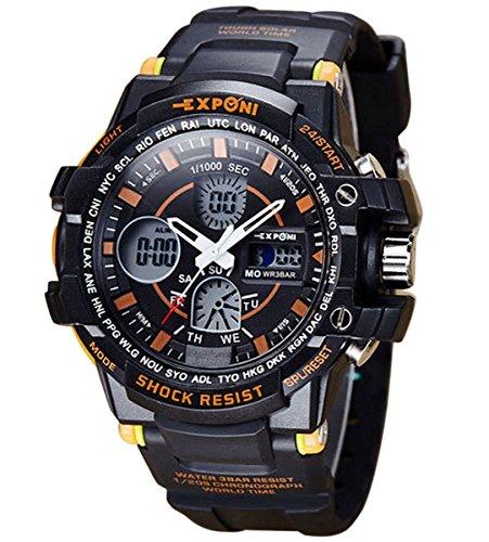 Panegy Unisex Armbanduhr Jungen LED Sportuhr mit Highlight Maedchen Kunststoffe Armbanduhren Liebespaar Multifunktion 3ATM Wasserdicht Digitaluhr Stoppuhr mit Kalender Alarm Chronograph Orange