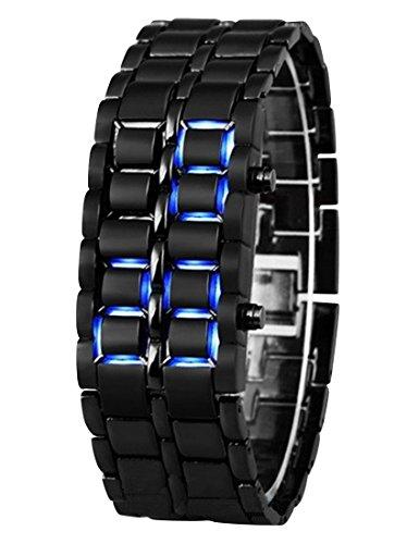 Panegy Liebespaar Armbanduhr Unisex LED Digitaluhr mit Legierung Armband Schwarz Fashion 3ATM Wasserdicht Legierung Ketteuhr Fuer Jungen Herren Blau