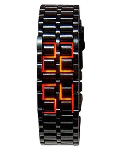 Panegy Liebespaar Armbanduhr Unisex LED Digitaluhr mit Legierung Armband Schwarz Fashion 3ATM Wasserdicht Legierung Ketteuhr Fuer Maedchen Frauen Rot