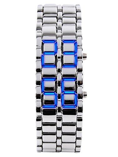 Panegy Liebespaar Armbanduhr Unisex LED Digitaluhr mit Legierung Armband Silberfarbig Fashion 3ATM Wasserdicht Legierung Ketteuhr Fuer Jungen Herren Blau
