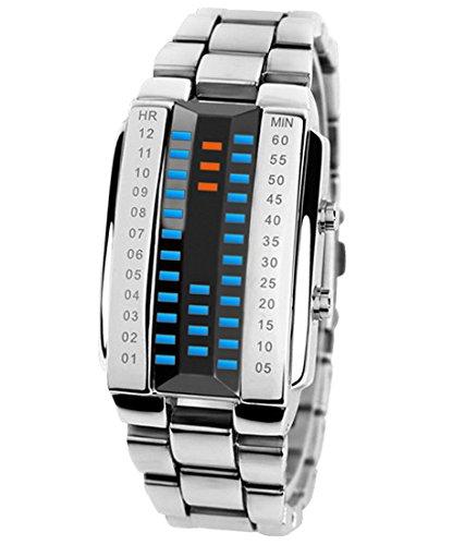 Panegy Liebespaar Armbanduhr Unisex LED Digitaluhr mit Legierung Armband Silberfarbig Fashion 3ATM Wasserdicht Legierung Ketteuhr Fuer Jungen Herren Grosse Groesse