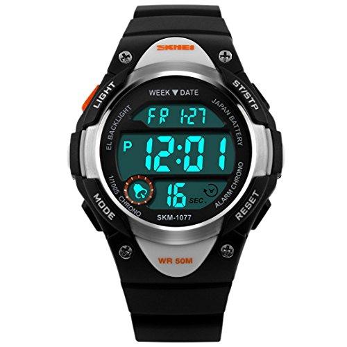 PANEGY Kinder Sport Armbanduhr Japanisches Quarz Uhrwerk Analog Digital Gummi Band Schwarz