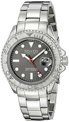 So Co New York Herren 5053 1 Yacht Timer Quarz Datum Luminous Edelstahl Link Armband Armbanduhr