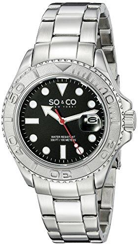 So Co New York Herren 5053 3 Yacht Timer Quarz Datum Luminous Edelstahl Link Armband Armbanduhr