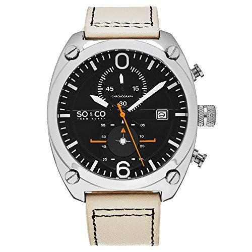 So Co New York Herren Aviator Style Chronograph Zifferblatt schwarz mit Weiss und orange Akzente 5285 2