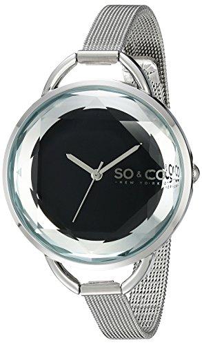 So Co SOHO New York Damen Quarzuhr mit schwarzem Zifferblatt Analog Anzeige und Silber Edelstahl Armband 5104 2