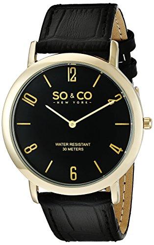 So Co New York Madison Herren Quarzuhr mit schwarzem Zifferblatt Analog Anzeige und schwarz Lederband 5043 3
