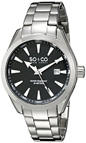 So Co New York Madison Herren Quarzuhr mit schwarzem Zifferblatt Analog Anzeige und Silber Edelstahl Armband 5039b 1