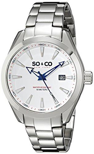 So Co New York Madison Herren Quarz Uhr mit weissem Zifferblatt Analog Anzeige und Silber Edelstahl Armband 5039b 3