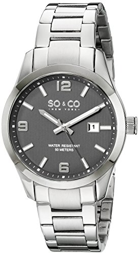 So Co New York Madison Herren Quarzuhr mit grauem Zifferblatt Analog Anzeige und Silber Edelstahl Armband 5051 3