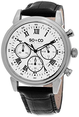 So Co New York Monticello Herren Quarz Uhr mit weissem Zifferblatt Analog Anzeige und schwarz Lederband 5059 2