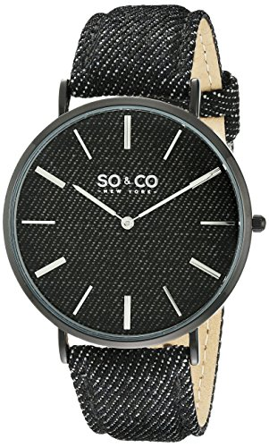 So Co New York SOHO Unisex Quarzuhr mit schwarzem Zifferblatt Analog Anzeige und schwarz Lederband 5103 3999999999996