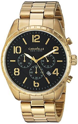 Caravelle 44b114 Edelstahl gold Armband Band Schwarz Zifferblatt Armbanduhr