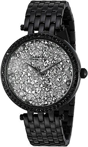 Caravelle 45l160 Damen Armband Kristall schwarz Band Silber Rock Kristall Zifferblatt Armbanduhr