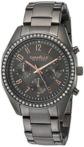Caravelle 45l161 Damen Kristall Chronograph Edelstahl Armband grau Zifferblatt Smart Watch