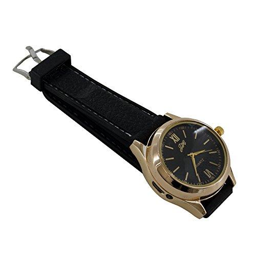 mit Zigarettenanzuender wiederaufladbare Armbanduhr durch USB Anschluss Winddicht Feuerzeug Goldfull