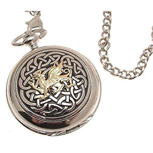 Gravur enthalten Taschenuhr massiv Zinn am Mechanische Skelett Taschenuhr Zwei Klang Keltischer Knoten mit Drache Design 59