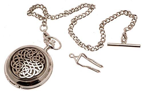 Gravur inklusive massives Zinn am Quarz Taschenuhr Keltischer Knoten Design