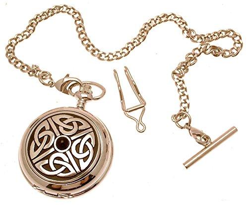Gravur inklusive massives Zinn am Quarz Taschenuhr 4 Triag Knoten mit Stein Design 3