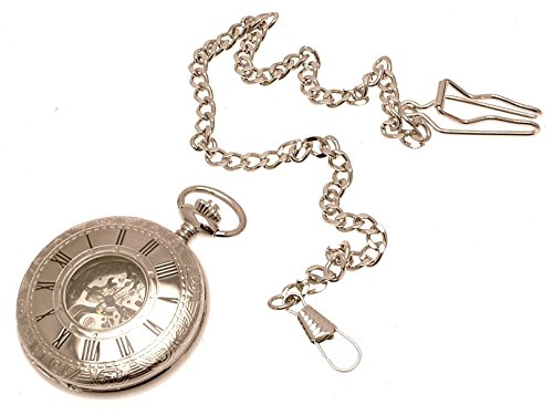 Gravur inklusive Silber Farbe Metall verkleidet Double Hunter Taschenuhr mit Fenster Kette und Schluesselanhaenger