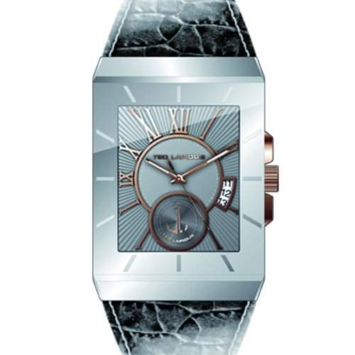 5114003 Ted Lapidus Herren-Armbanduhr Dianna Quarz analog Leder grau, grau