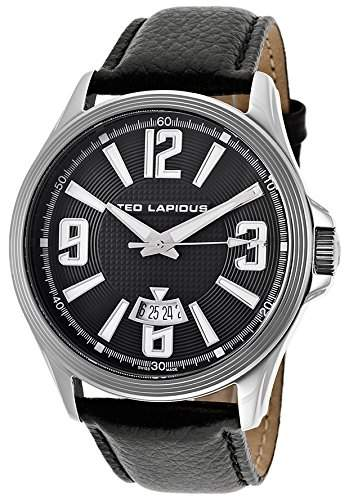 Ted Lapidus Herren 45mm Schwarz Leder Armband Edelstahl Gehaeuse Uhr 5123701SM