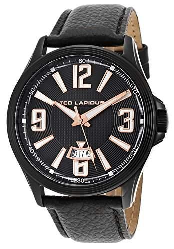 Ted Lapidus Herren 45mm Schwarz Leder Armband Mineral Glas Uhr 5123704SM