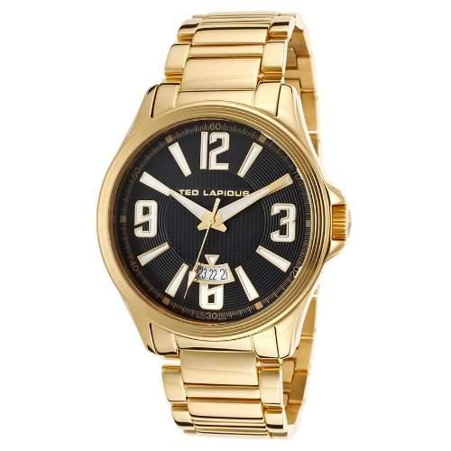 Ted Lapidus Herren 46mm Goldfarben Edelstahl Armband & Gehaeuse Uhr 5123707SM