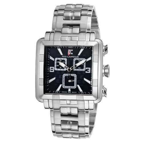 Ted Lapidus Herren Chronograph Silber Edelstahl Armband & Gehaeuse Uhr 5123905SM