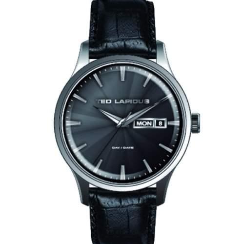 Ted Lapidus-5124203-Zeigt Herren-Armbanduhr 1076312Analog Leder Schwarz