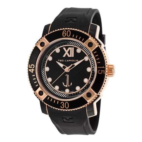 Ted Lapidus Herren 45mm Schwarz Kautschuk Armband Mineral Glas Uhr 5124904SM