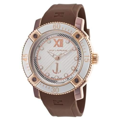 Ted Lapidus Herren 45mm Braun Kautschuk Armband Edelstahl Gehaeuse Uhr 5124905SM